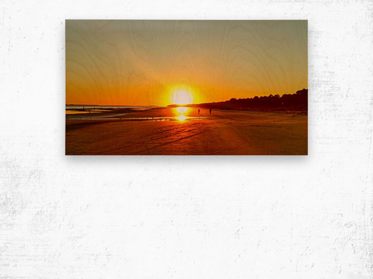 Sunset at the Atlantic Shore Wood print
