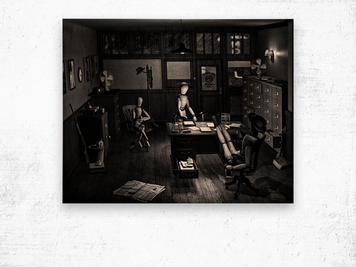 Asking The Private Eye For Help Wood print