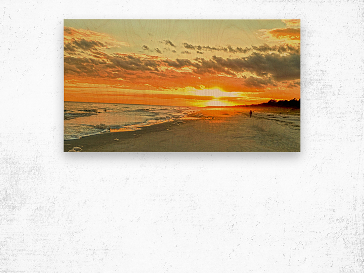 The Carolina Sunset Wood print