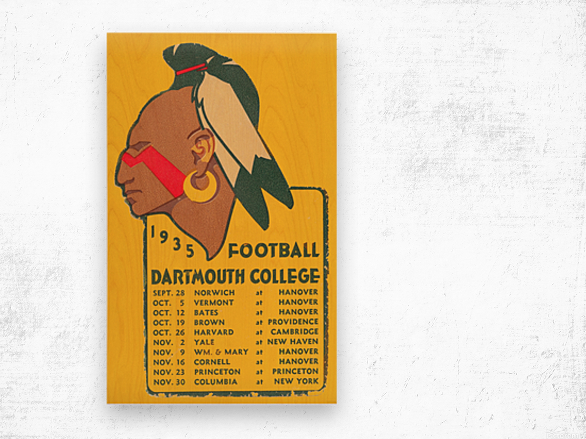1935 Dartmouth Indians Football Poster Wood print