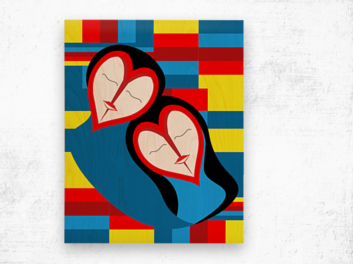 Hearts in Love Wood print