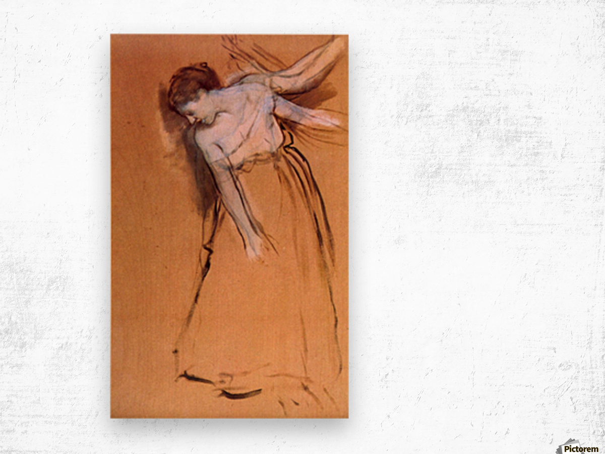 Standing with arms stretched, bent to the side by Degas Wood print