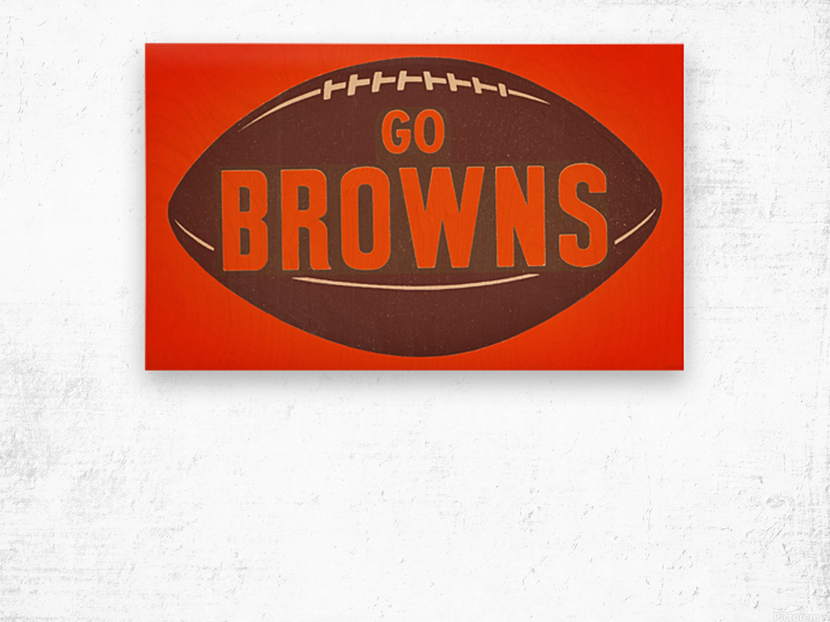 Vintage Cleveland Browns Football Art Wood print
