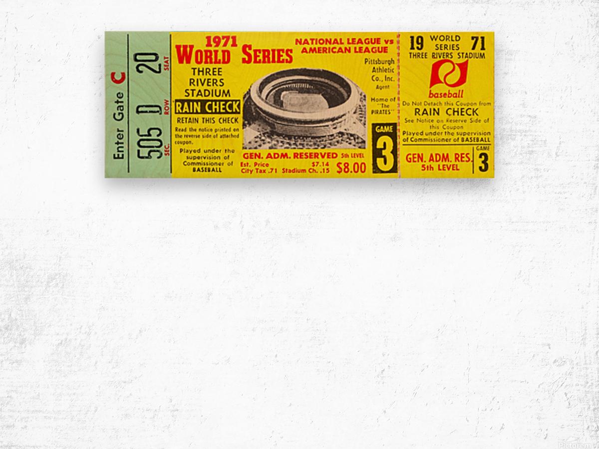 1971 World Series Ticket Stub Wall Art Wood print