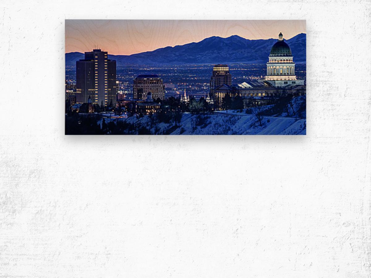 Utah State Capitol Sunset Salt Lake City Government Architecture Photography Historic Lights Night Fine Art Photo Print  Wall Decor Wood print