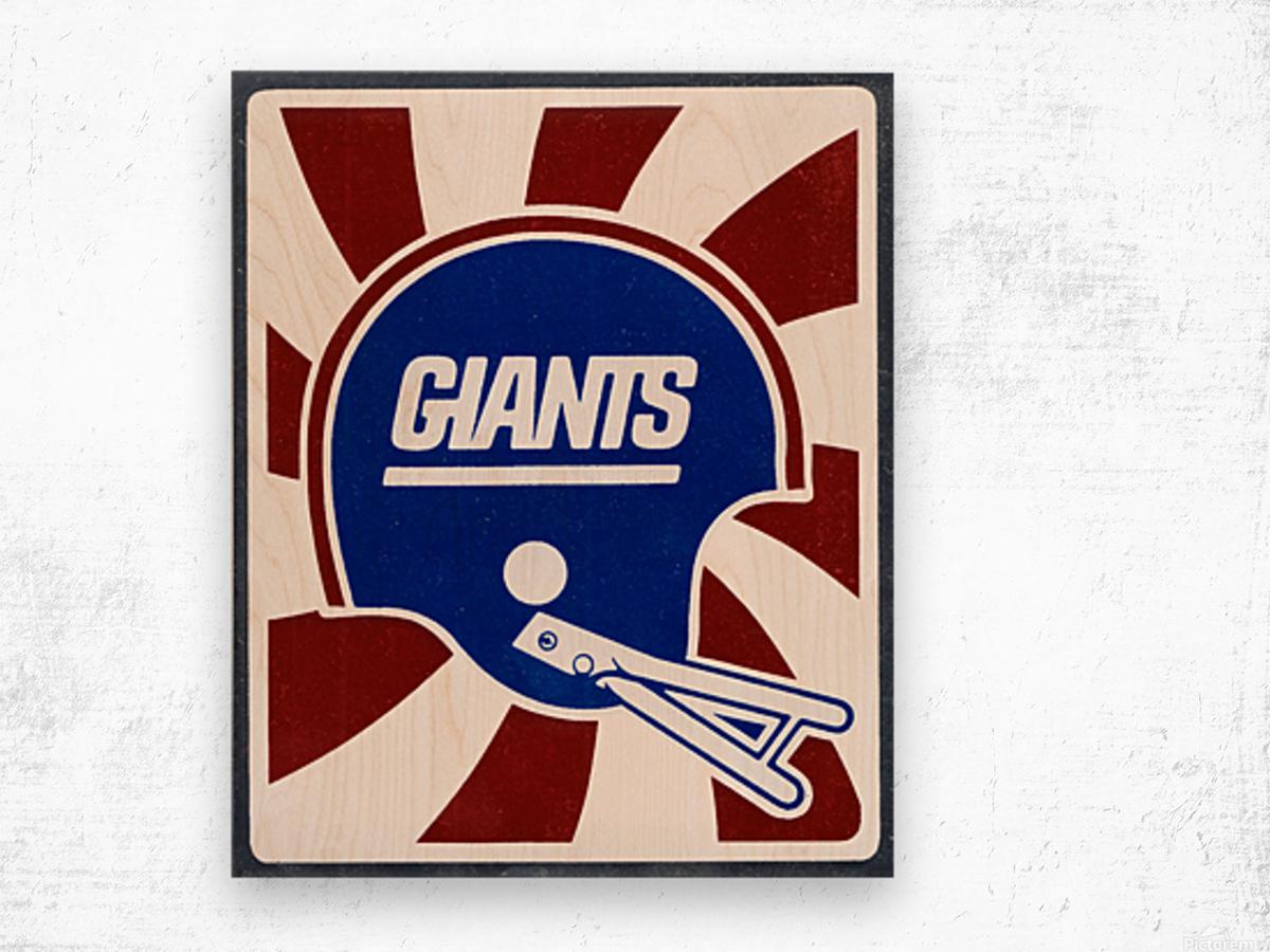 Retro New York Giants Helmet Art Wood print