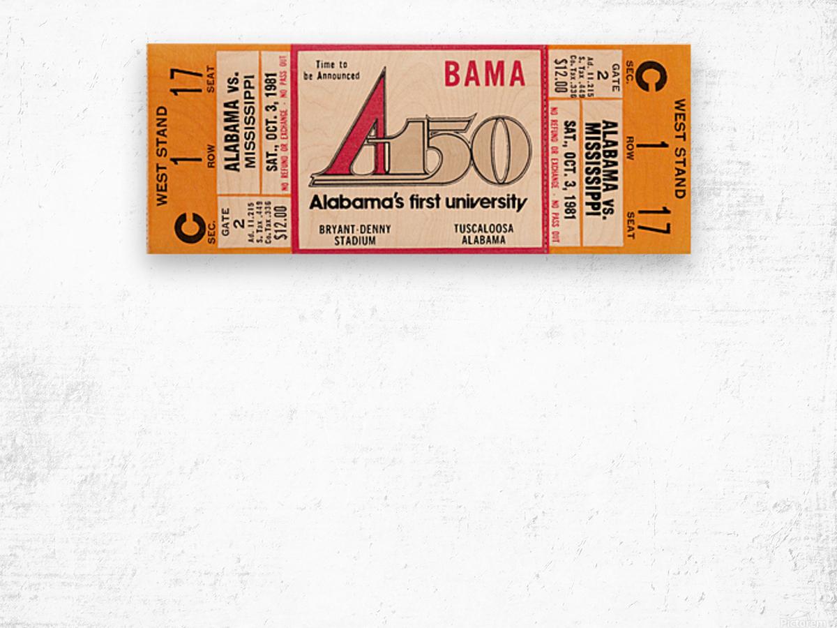 1981 Alabama Football Ticket Canvas Art Wood print