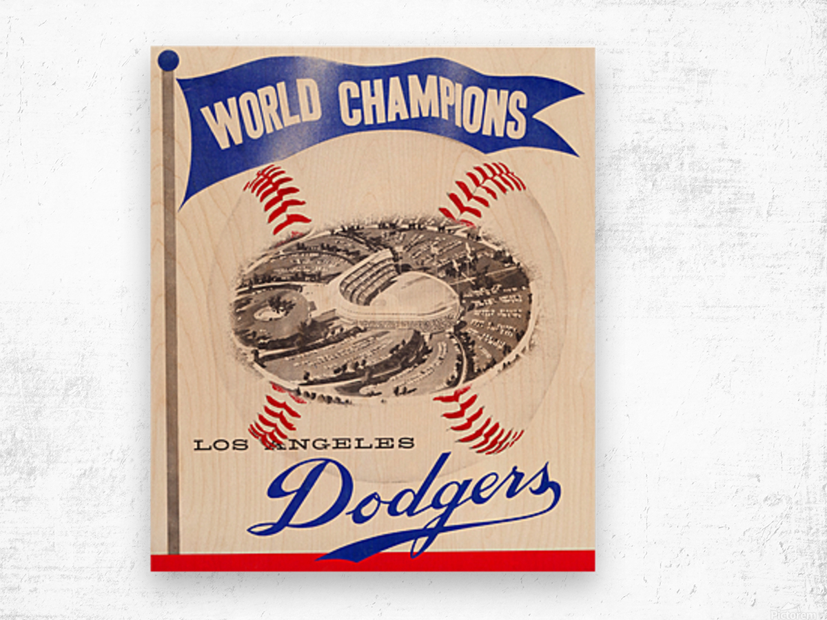 1960 Los Angeles Dodgers Baseball Art Wood print