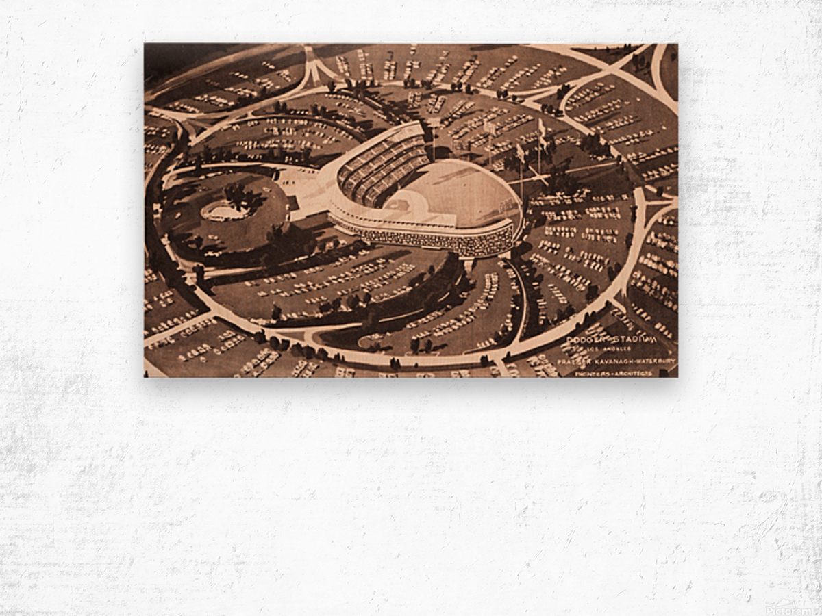 1959 Dodger Stadium Architecture Drawing Wood print