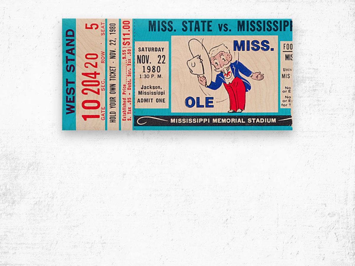 1980 Ole Miss vs. Miss State Football Ticket Stub Art Wood print