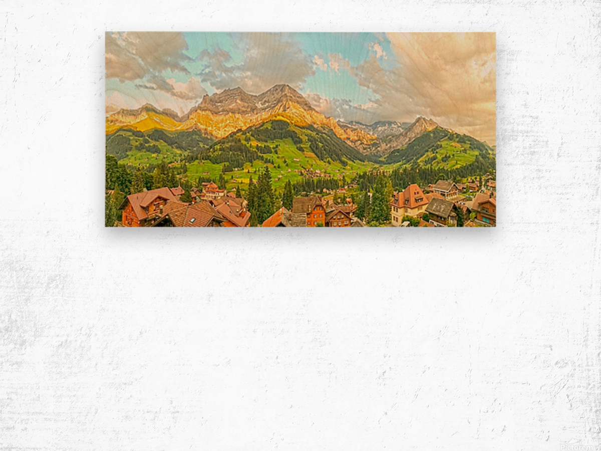 Golden Rays Across The Bernese Highlands in Switzerland Panorama with Engstligen Falls Wood print