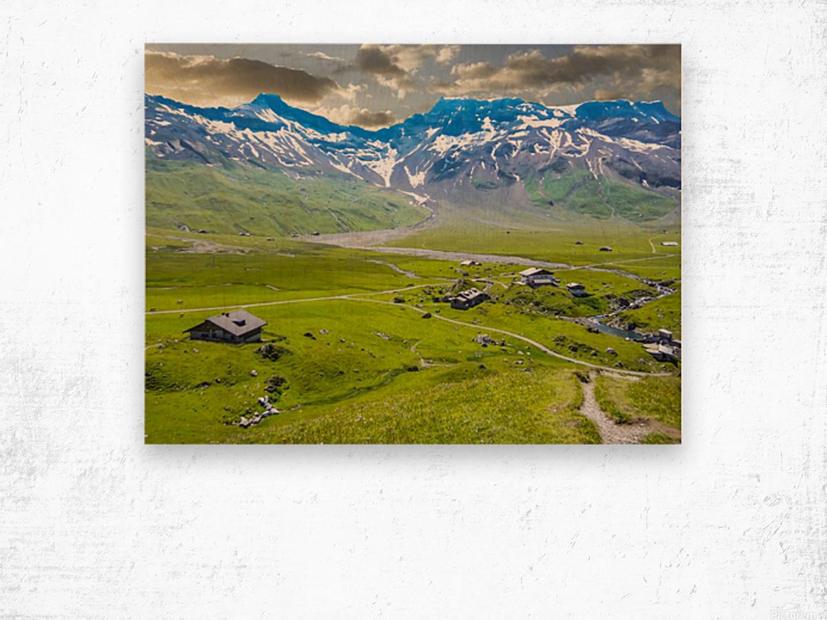 High Alps Village in Spring Switzerland Wood print