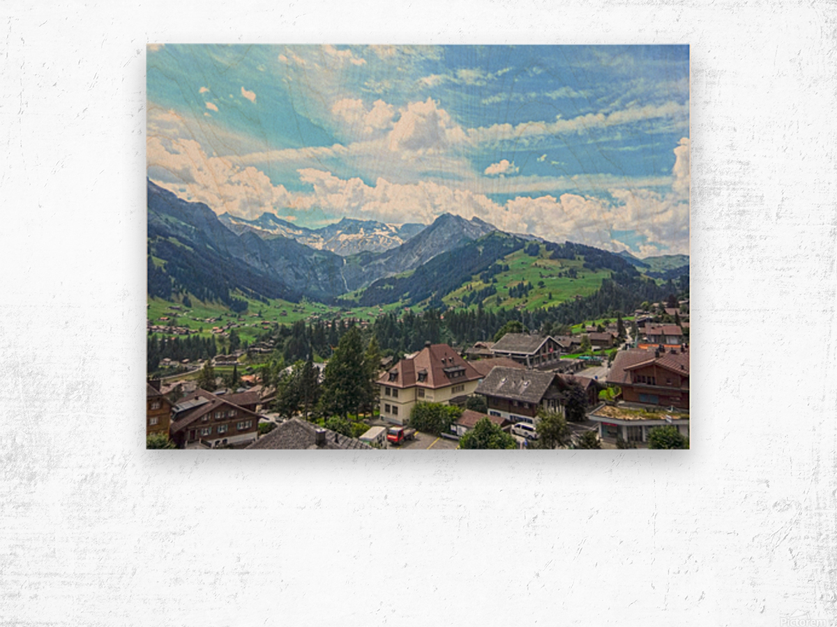 Beautiful Day in the Swiss Alps Wood print