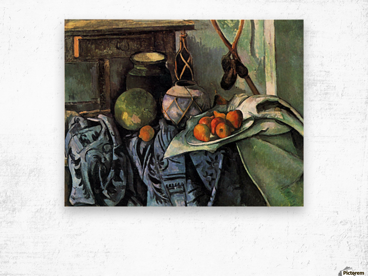Still life with Eggplant by Cezanne Wood print