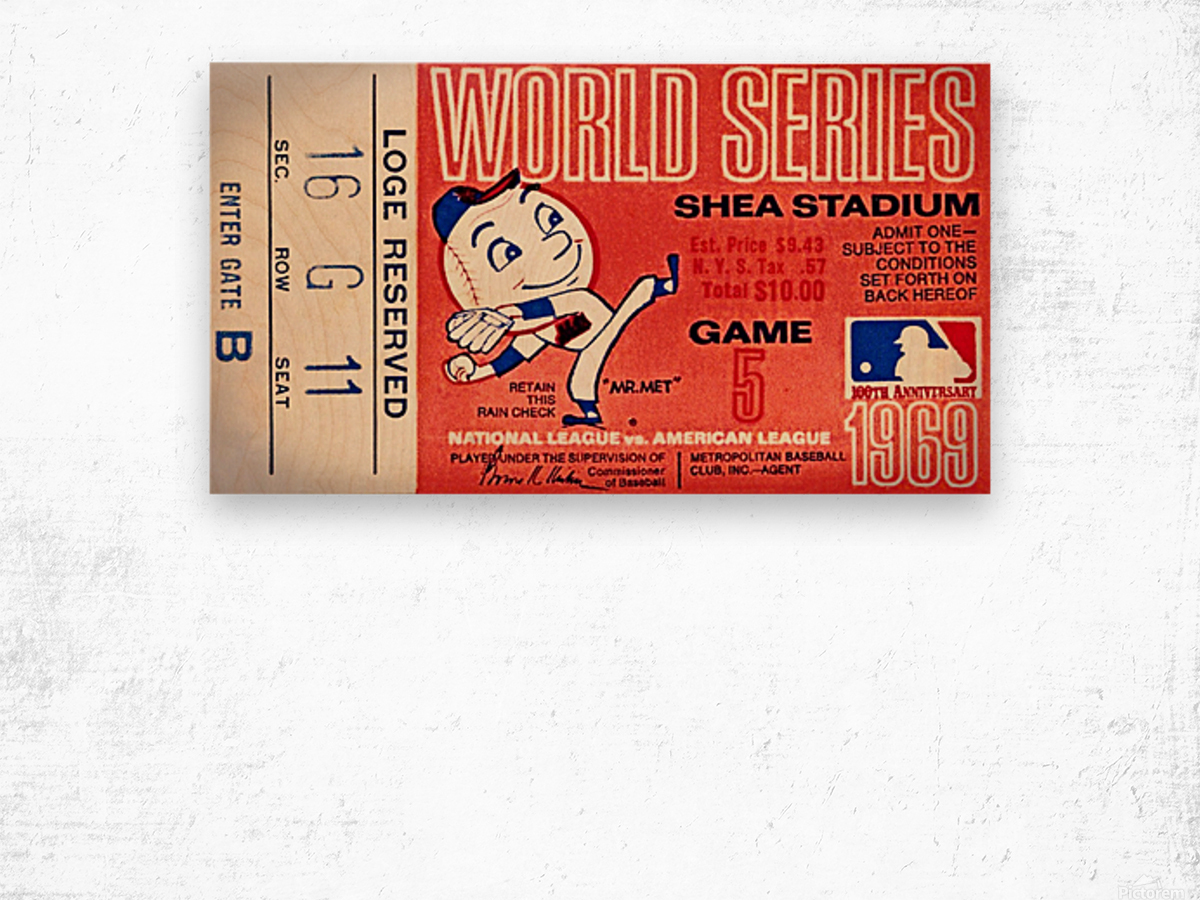 1969 New York Mets Game 5 Ticket Art Impression sur bois