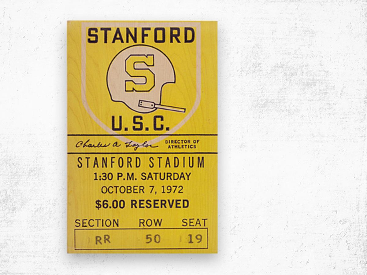 1972 Stanford vs. USC Ticket Stub Art Wood print