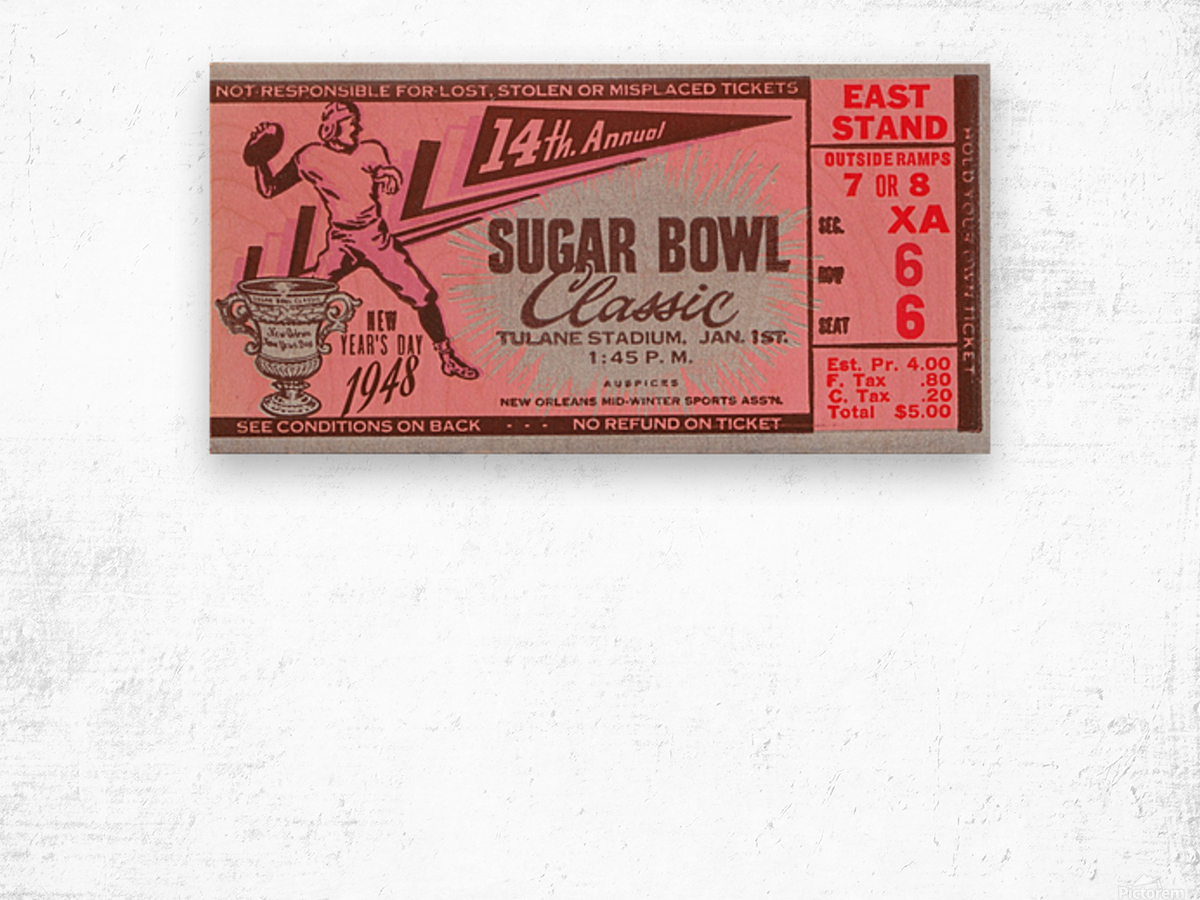 1948 Sugar Bowl Ticket Art Texas Win Wood print