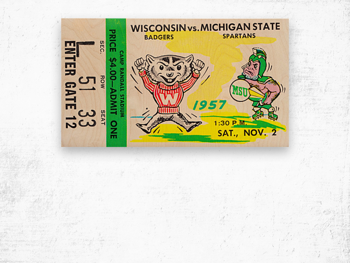 1957 Wisconsin vs. Michigan State Football Ticket Art Wood print