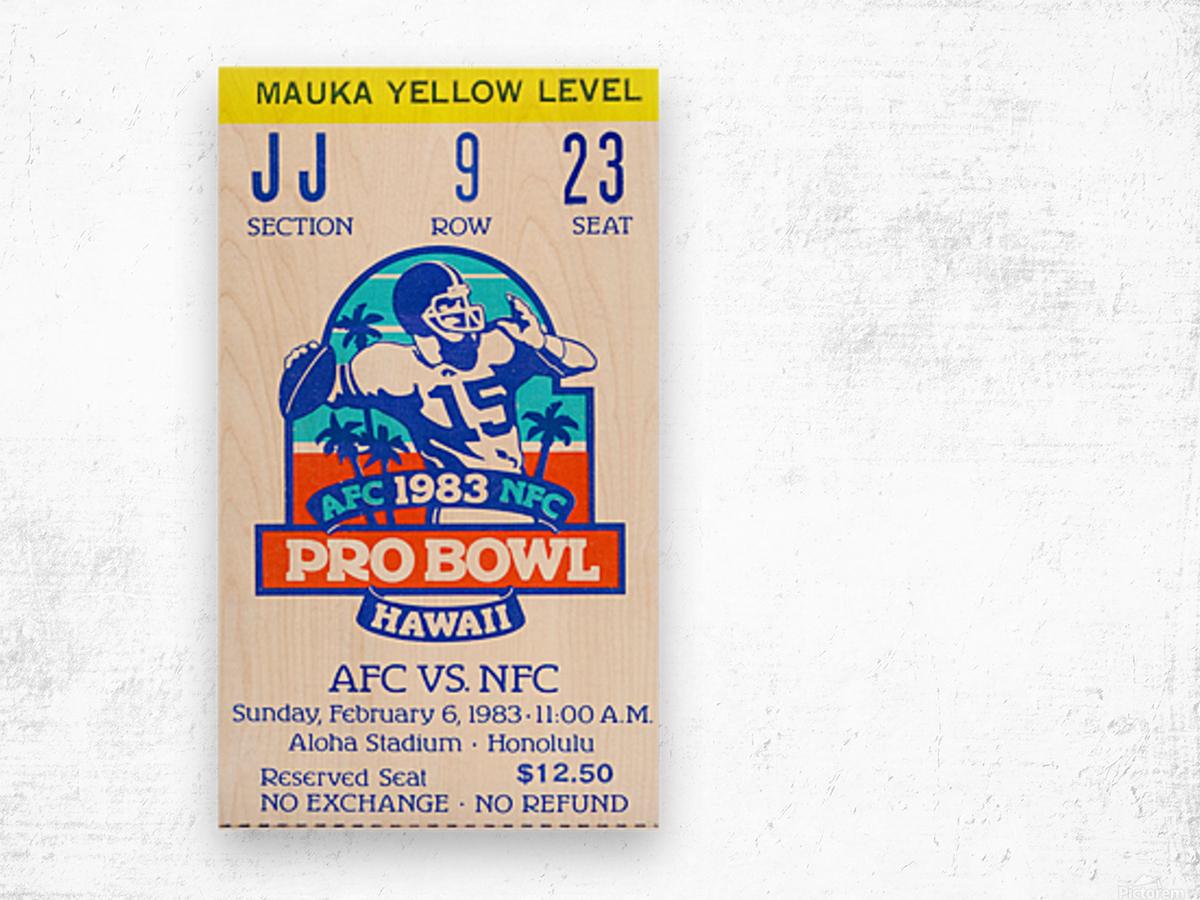 1983 Pro Bowl Ticket Stub Wall Art Wood print