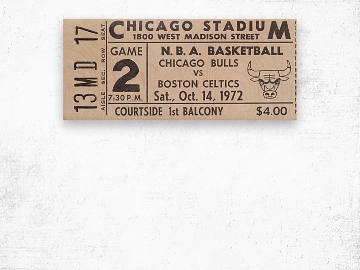 1972 Chicago Bulls vs. Boston Celtics Ticket Stub Art Wood print