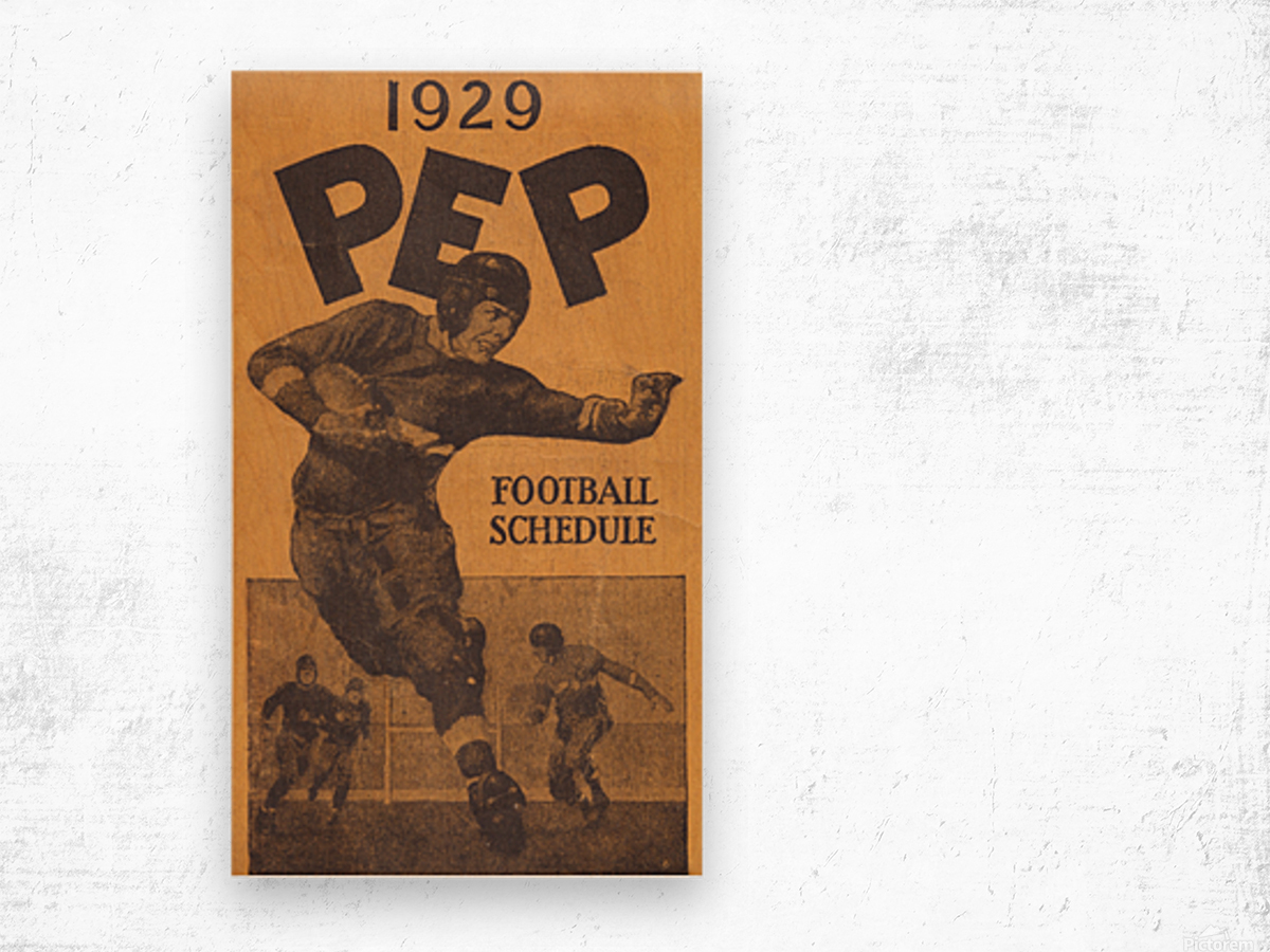 1929 Pep Football Schedule Art Wood print