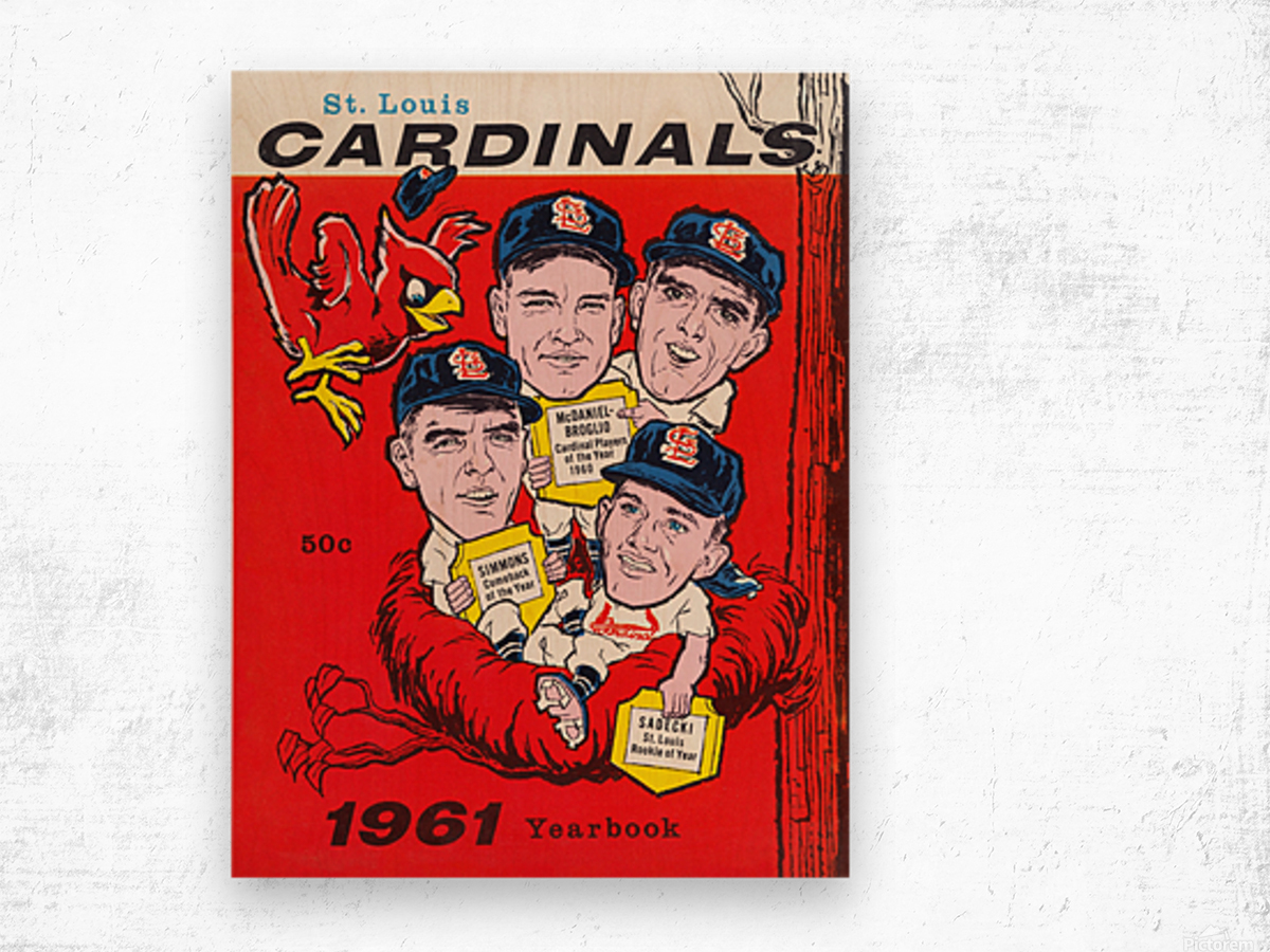 1961 St. Louis Cardinals Yearbook Poster Wood print