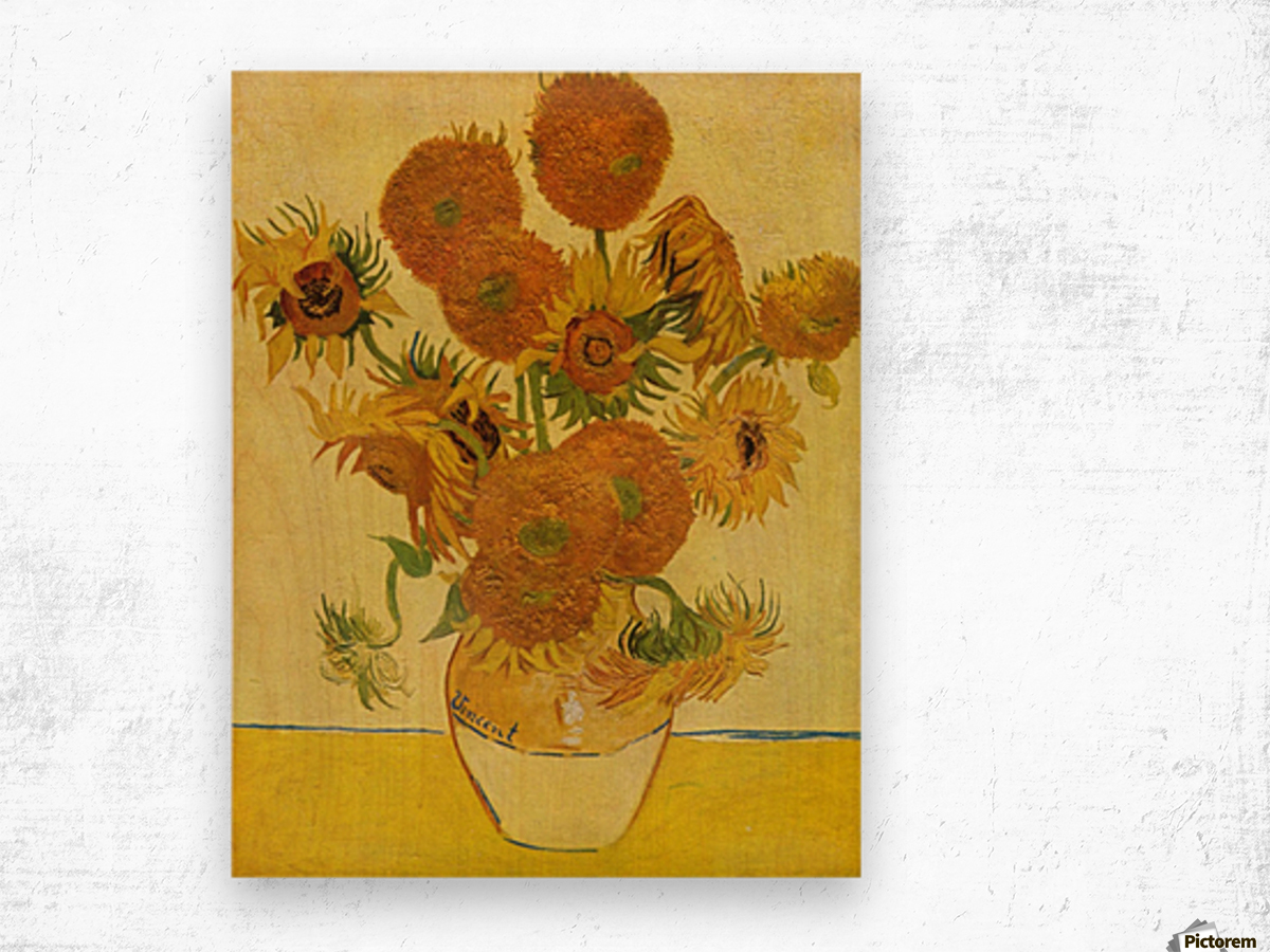 Still life with sunflowers by Van Gogh Wood print