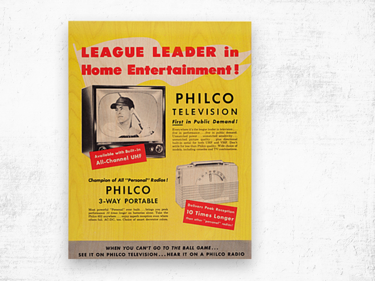 Vintage Philco Television Advertisement Wood print