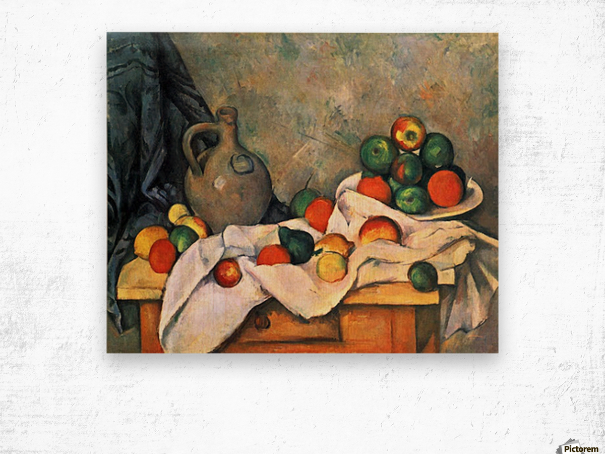 Still life, drapery, pitcher and fruit bowl by Cezanne Wood print