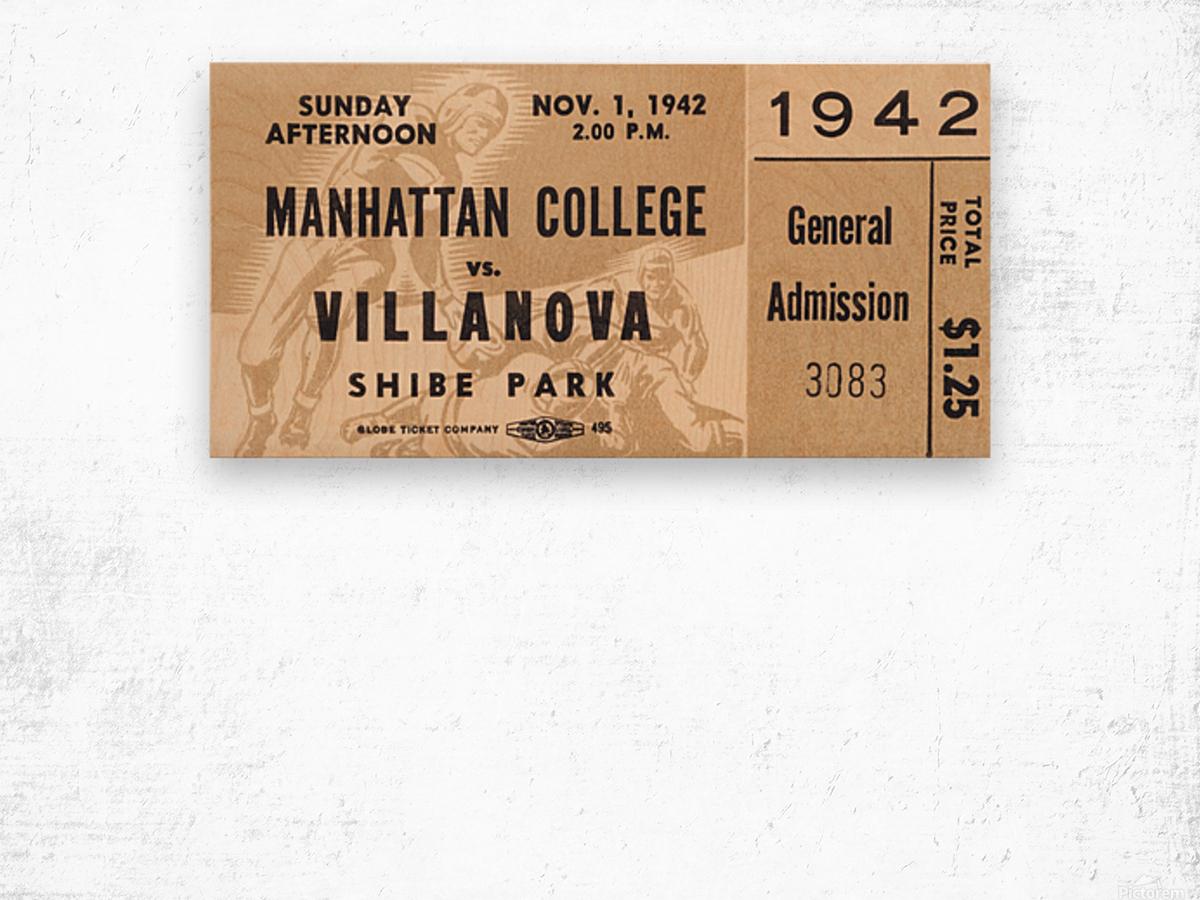 1942 Villanova vs. Manhattan Football Ticket Art Wood print