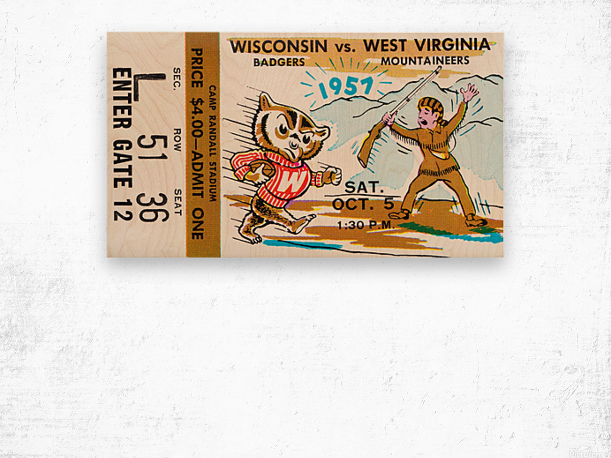1957 Wisconsin vs. West Virginia Ticket Stub Art Wood print
