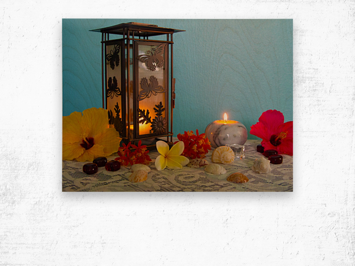 Candles and Flowers Wood print