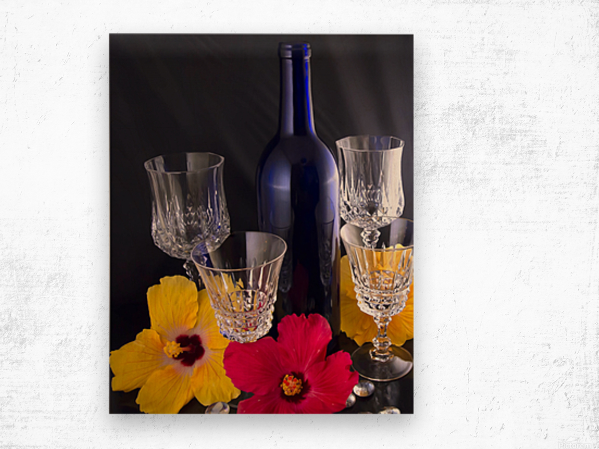 Blue Wine Bottle With Crystal and Tropical Flowers Wood print