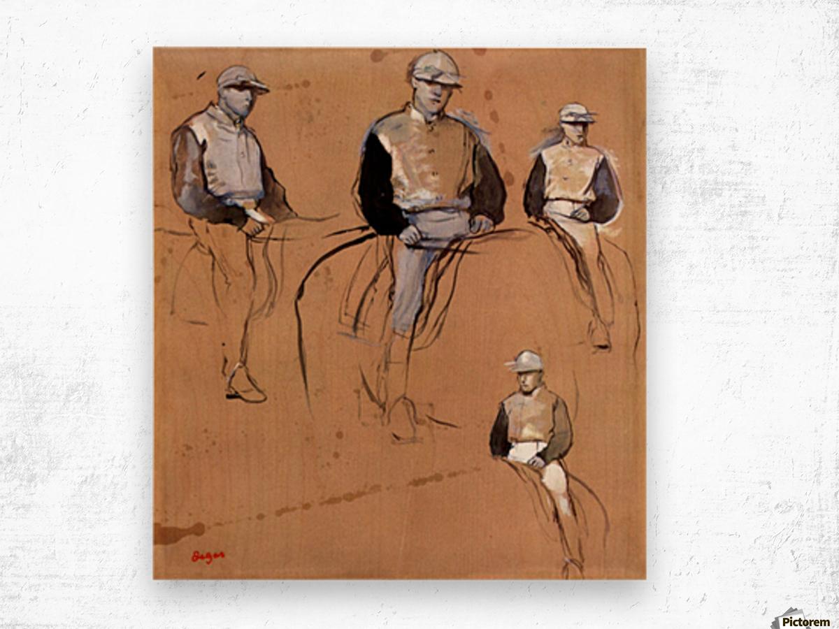 Study with four jockeys by Degas Wood print