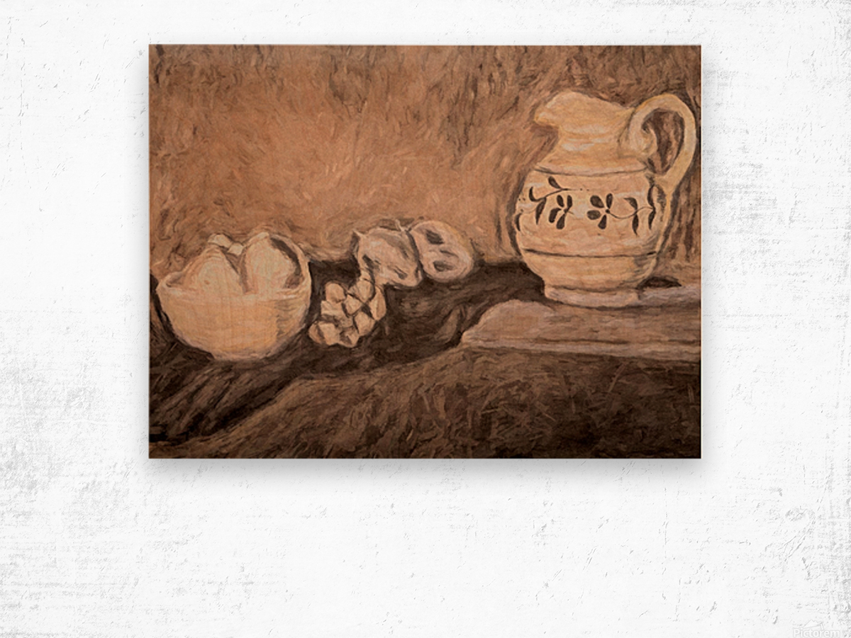 Fruit and Pitcher Wood print