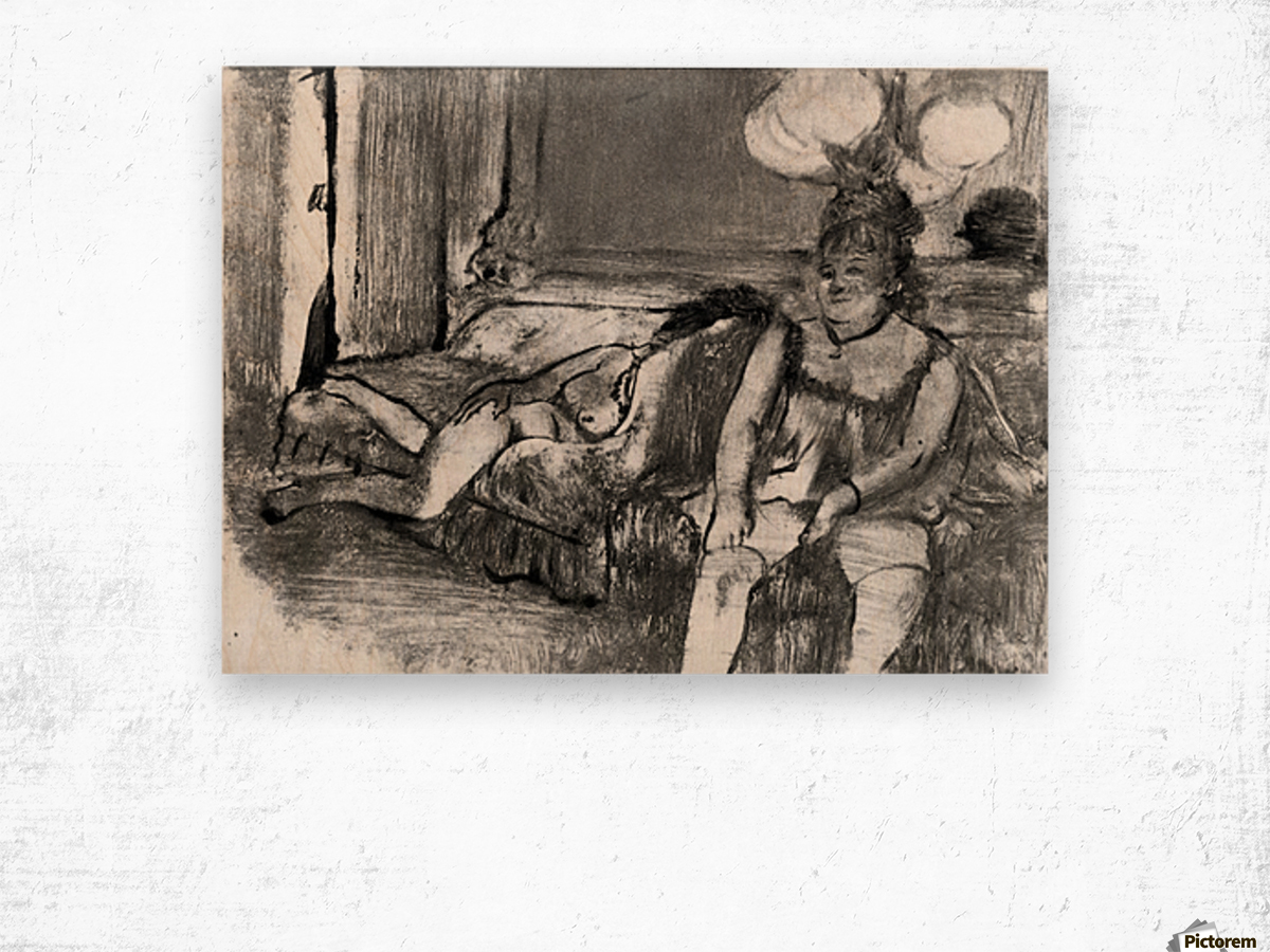 Taking a rest by Degas Wood print