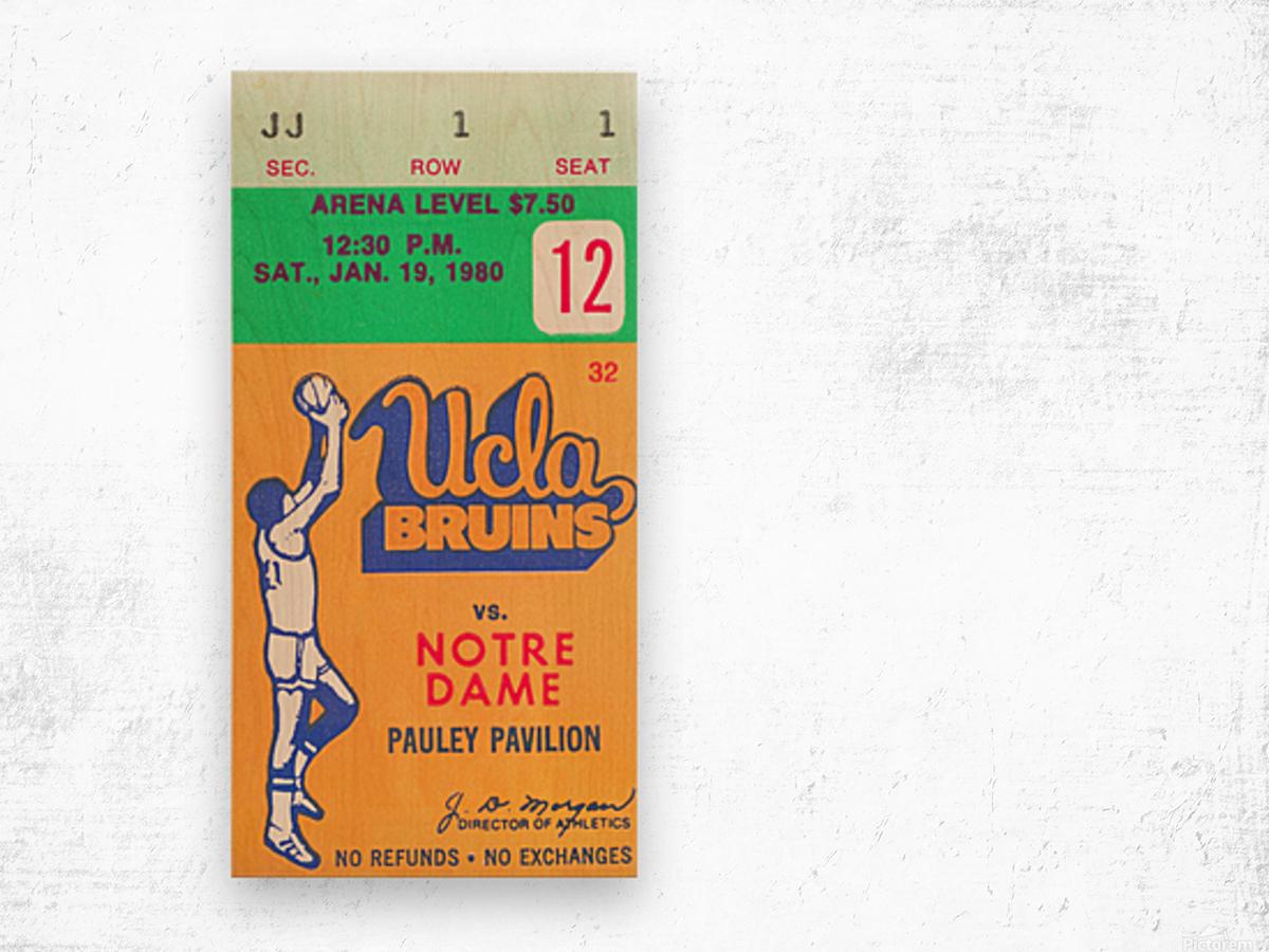 1980 UCLA Bruins Basketball Ticket Stub  Art Wood print