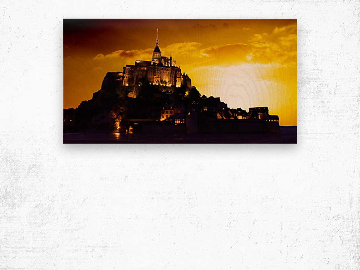 Majestic Mount Saint Michael Panorama Wood print