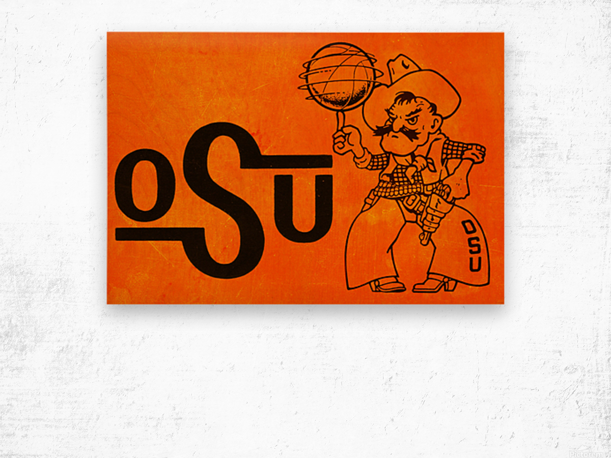 1985 Oklahoma State OSU Cowboys Pistol Pete Basketball Art Wood print
