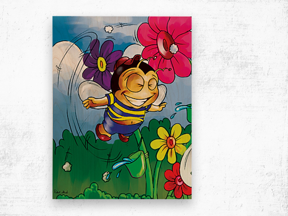 Happiness - Flower Power Buster Bee Wood print