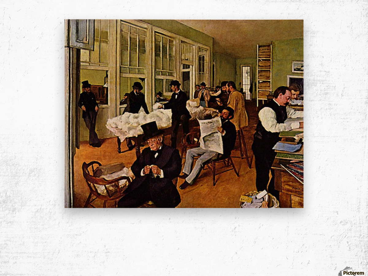 The cotton exchange by Degas Wood print