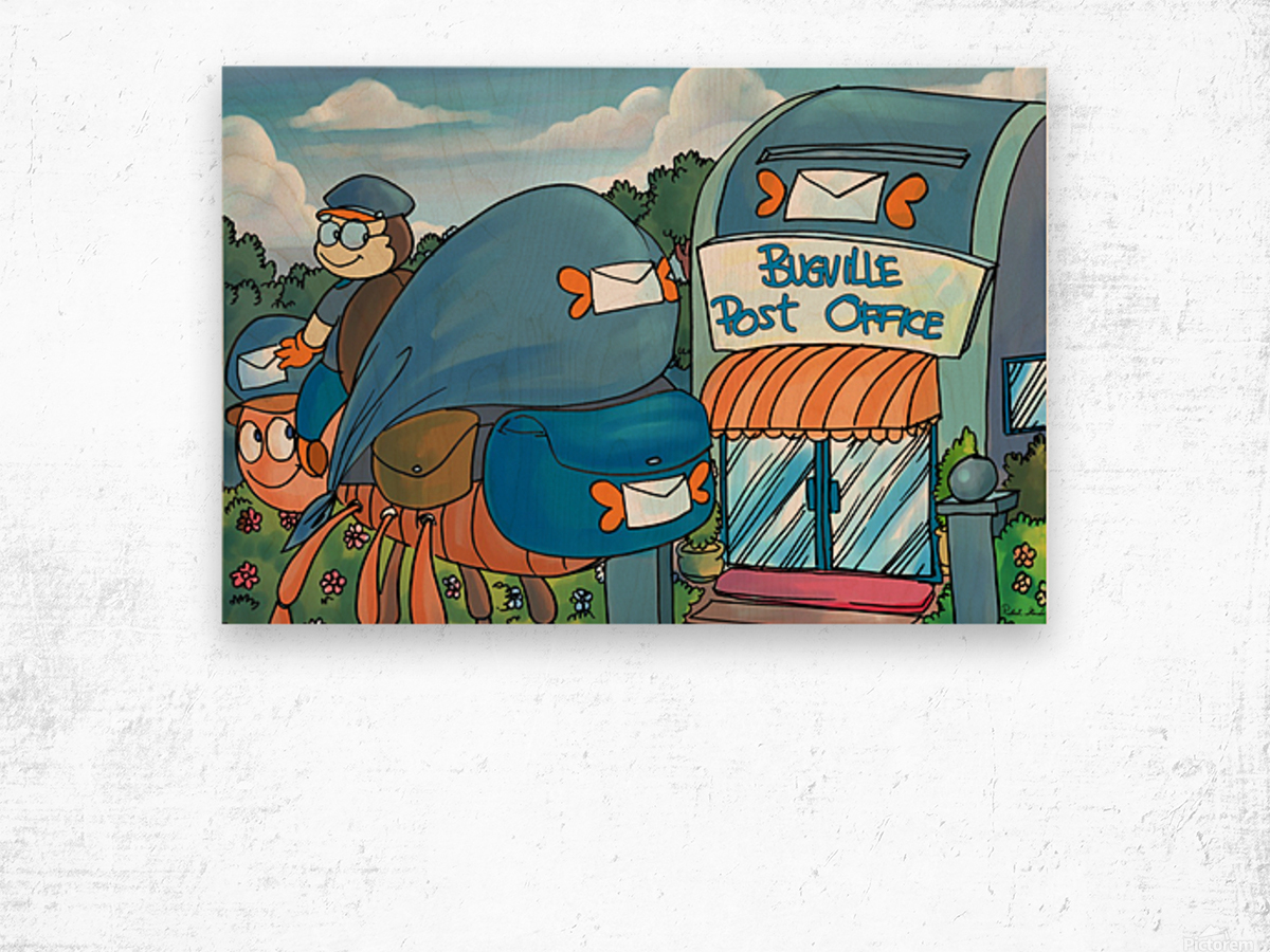 At the Post Office - Places in Bugville Collection 1 of 4 Wood print