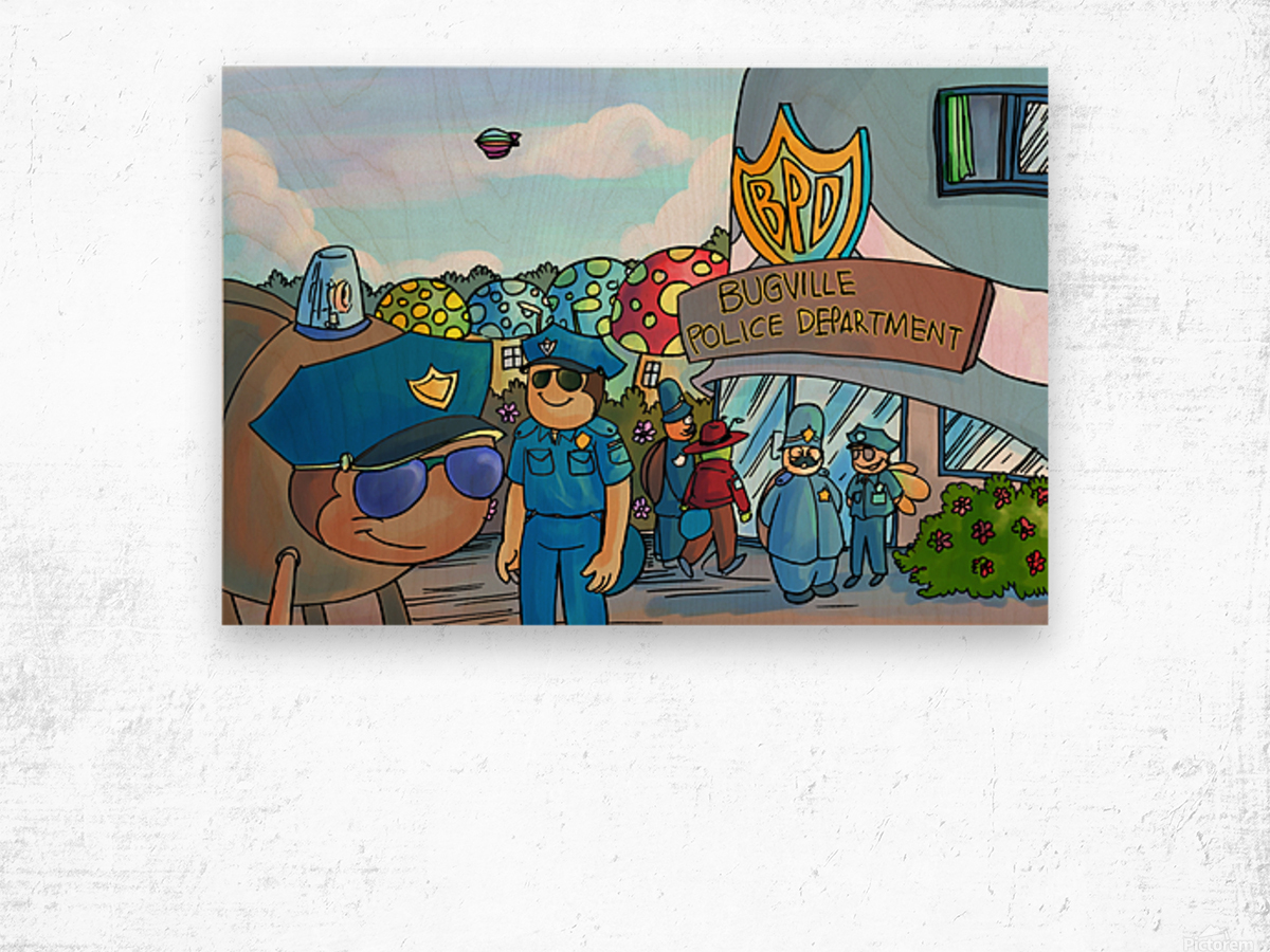 At the Police Department - Places in Bugville Collection 3 of 4 Wood print