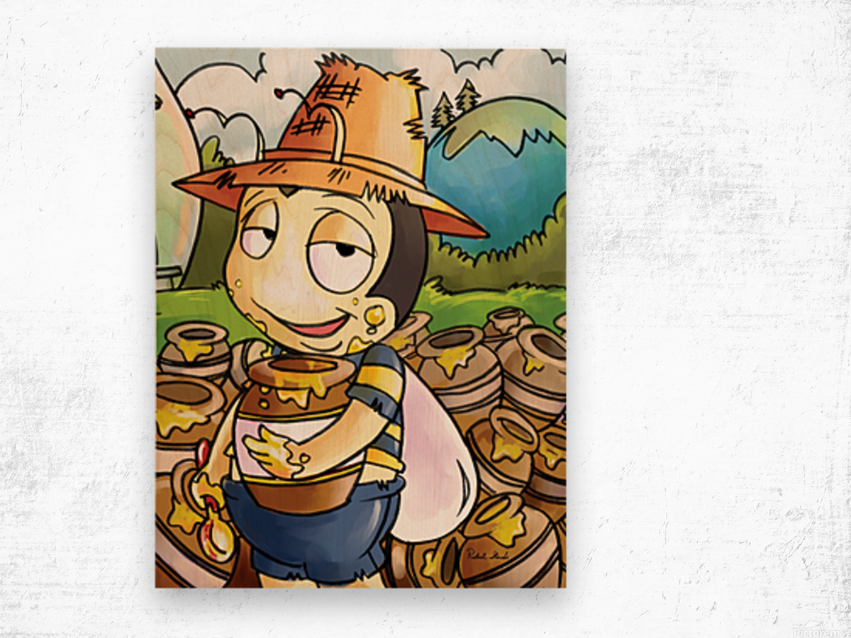 Honey Trouble for  Buster Bee Wood print