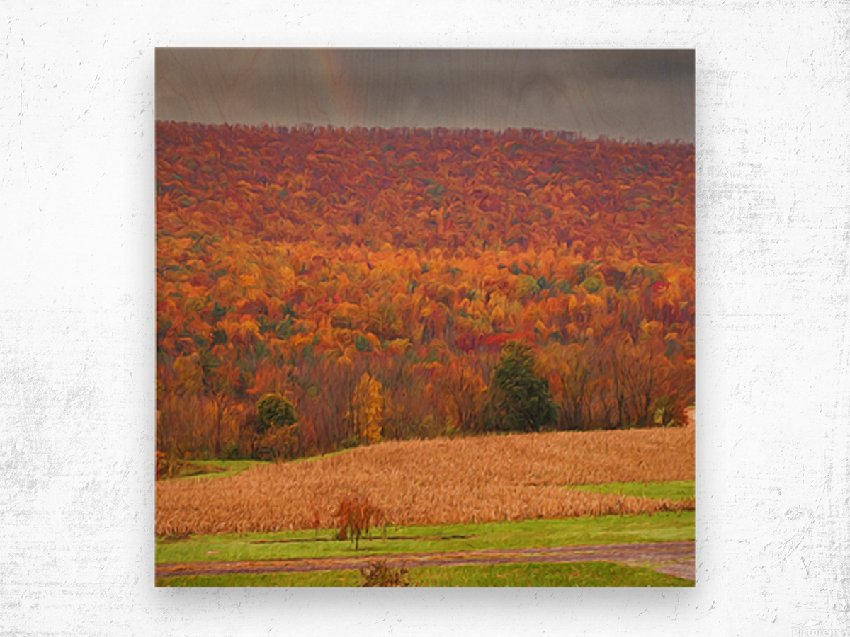 Painted Fall In The Mountains Wood print