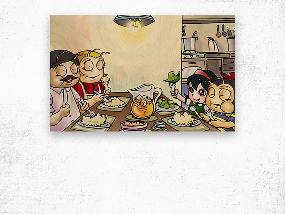 Dinner Time at the Bee House with the Family Wood print