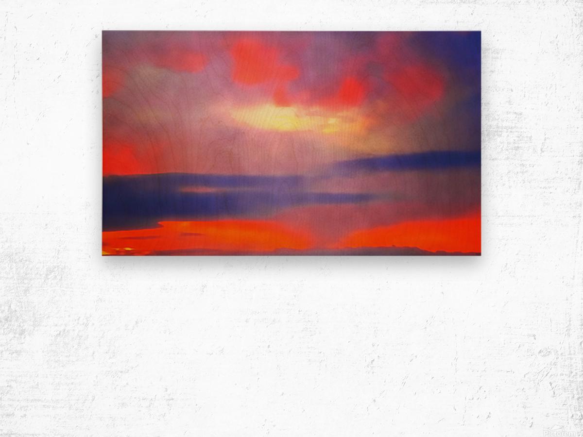 Orange Clouds Wood print