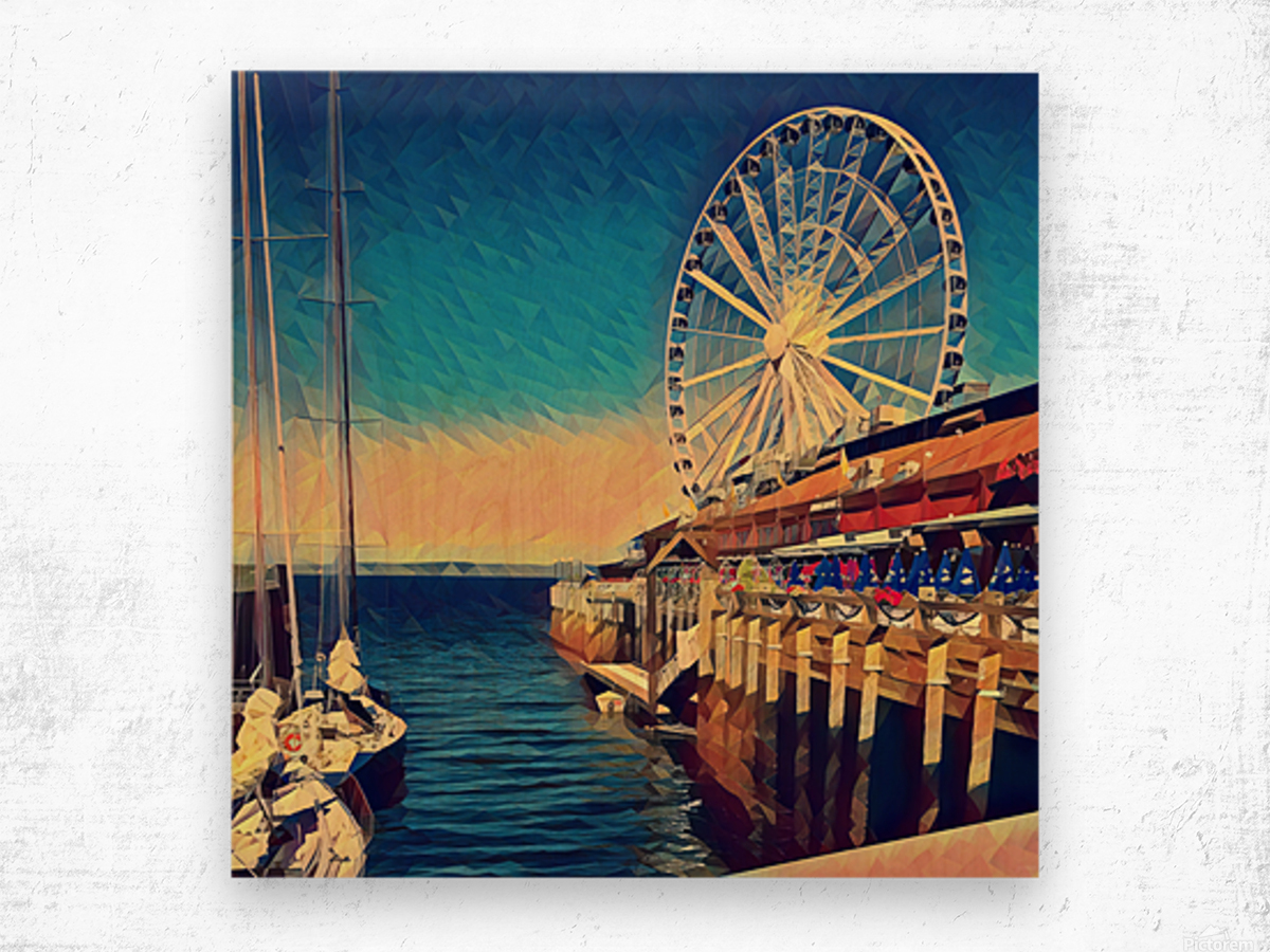 seattle great wheel Wood print