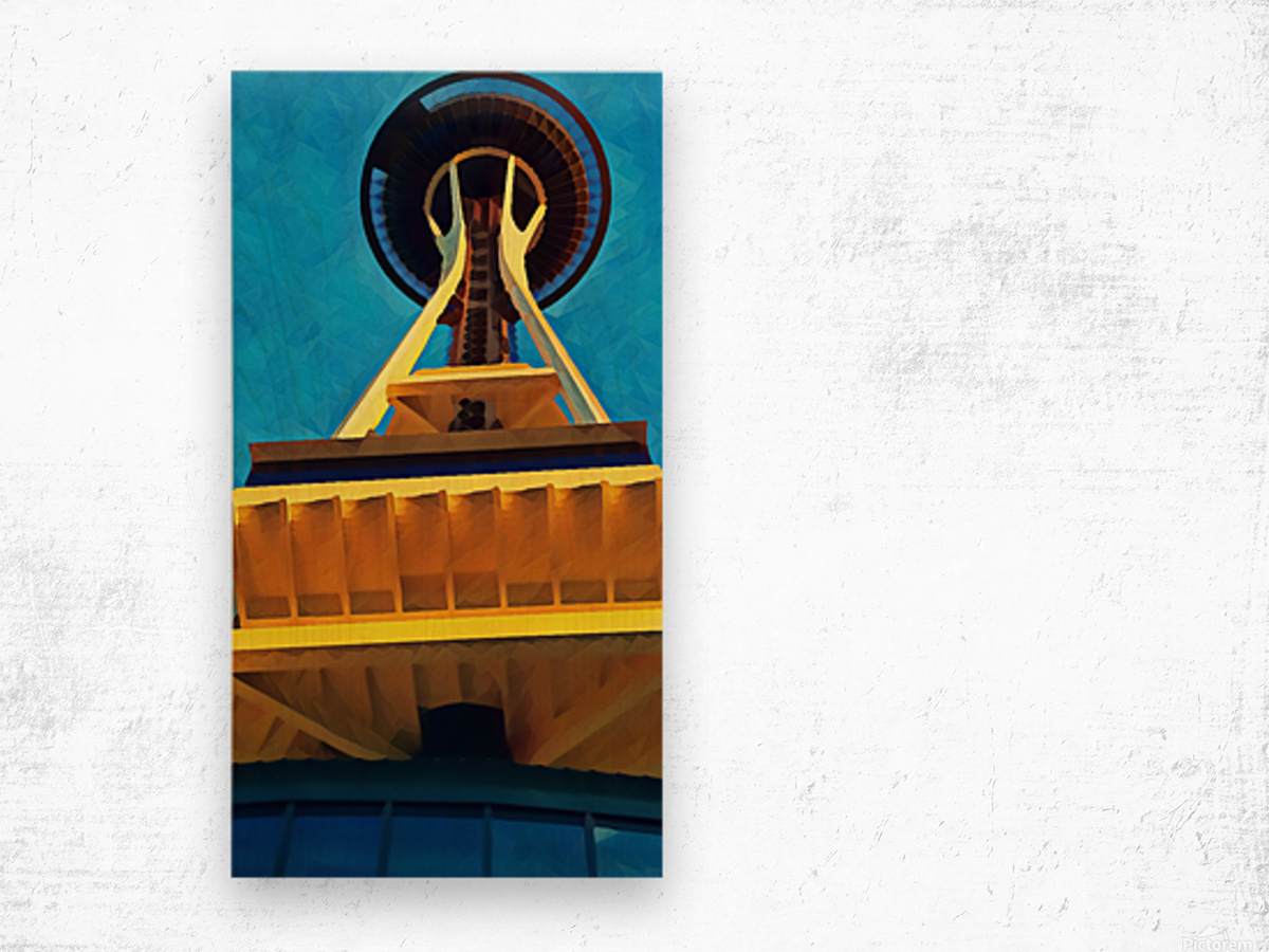 seattle space needle abstract Wood print