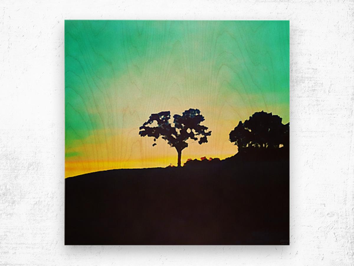 hill tree Wood print